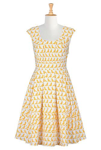 eShakti Pleat Neck Bird Print Dress