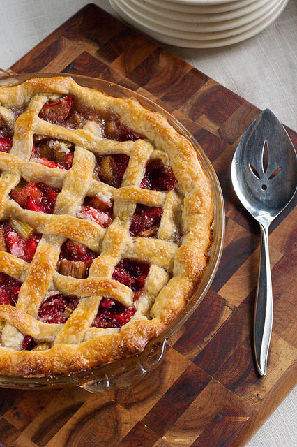 Mom's Famous Strawberry Rhubarb Pie from The Adventure Bite
