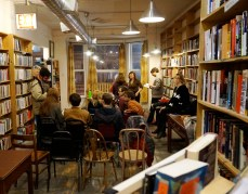 "Following a reading at Myopic Books on March 15, Bela Shayevich and Ainsley Morse sell copies of their new publication, ""Live I See,"" an English translation of the collected poems of Russian poet Vsevolod Nekrasov."