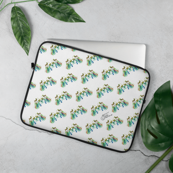 photo of Colourful laptop sleeve with hypnotic pattern of protein structures