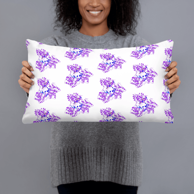 nerdy shopping presenting a  pillow with purple pèrotein structures