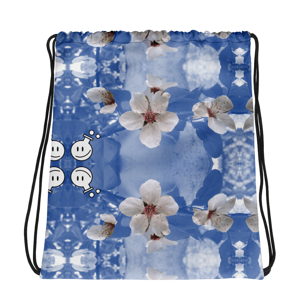 a stringy backpack with flowers  by poetry from the lab