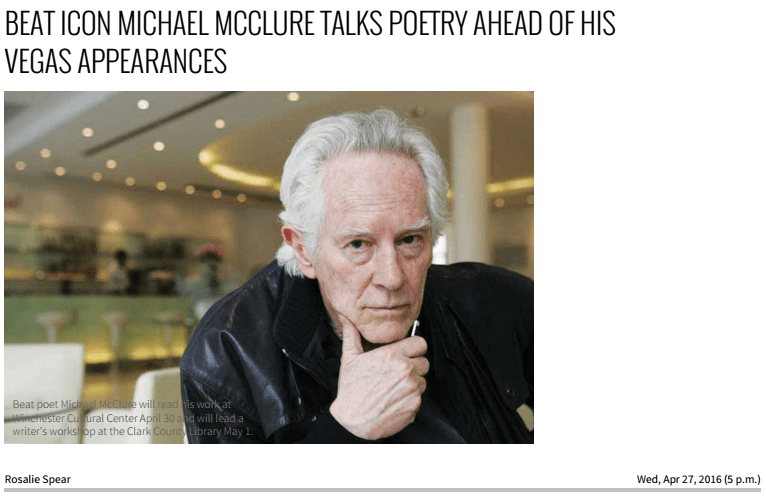 Michael McClure: LV Weekly, April 2016 - click to view article.