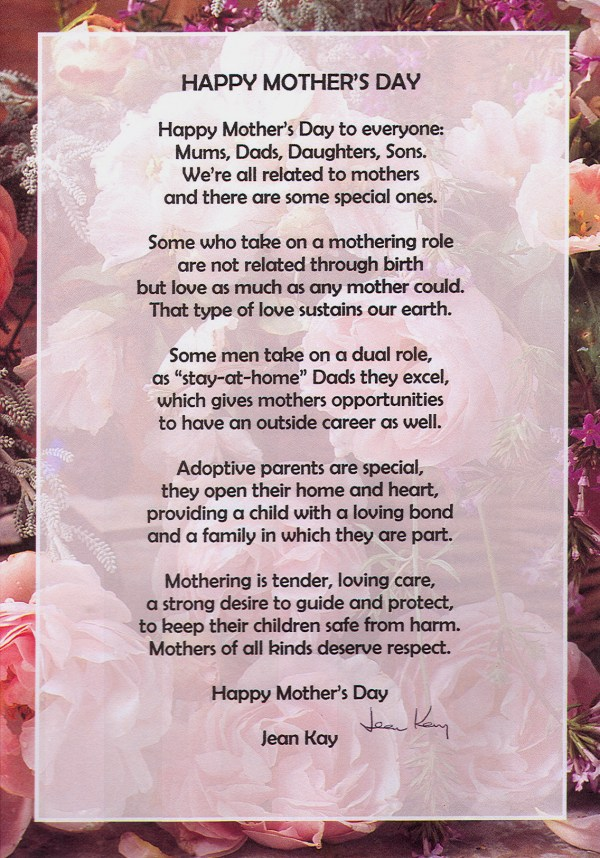 HAPPY MOTHERS DAY – poem by Jean Kay | poetrytoinspire