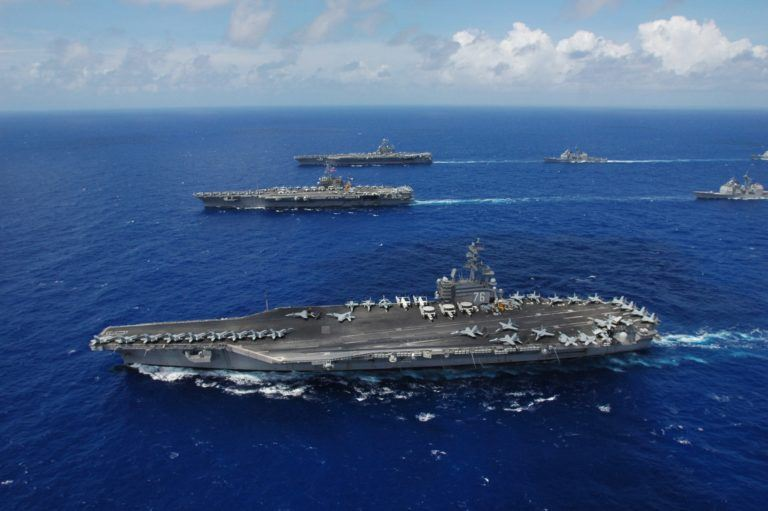 USS Ronald Reagan, Kitty Hawk and Abraham Lincoln. Photo: U.S. Navy photo by Chief Photographer's Mate Todd P. Cichonowicz.