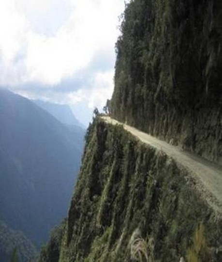 "Yungas Road, Bolivia, often called ""the world's most dangerous road."""
