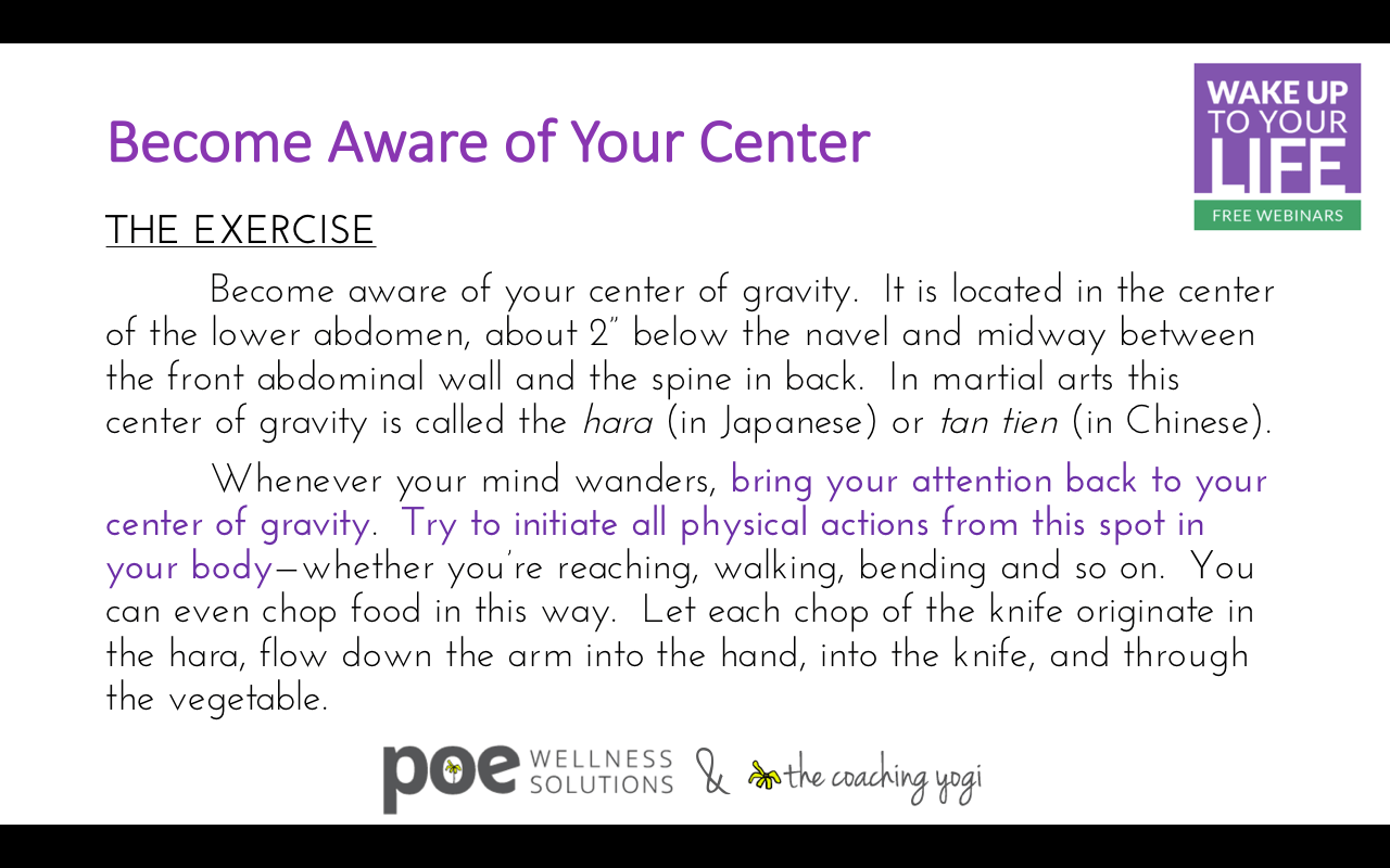 Become Aware Of Your Center