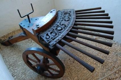 A 16th century organ with 12 gun barrels.