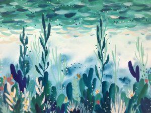 Gouache underwater scene painting