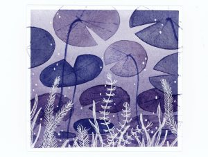 Purple lily pads underwater watercolor