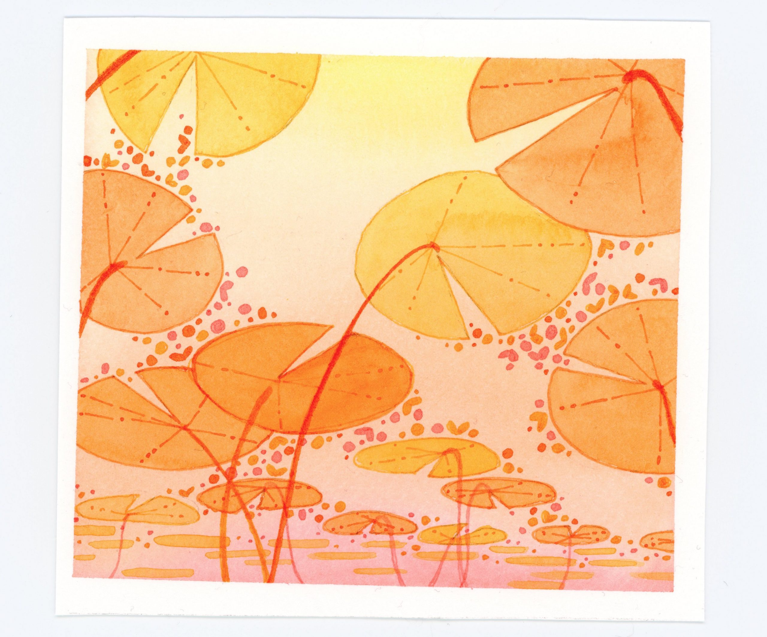 Watercolor--underwater view of lily pads