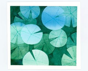 water lilies watercolor negative painting