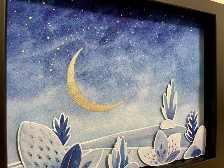 Moon Dust II 3D shadowbox watercolor art