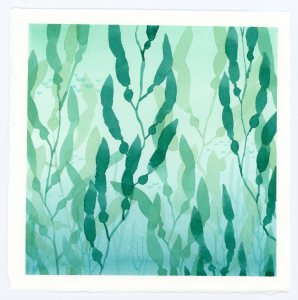 Seaweed watercolor scene
