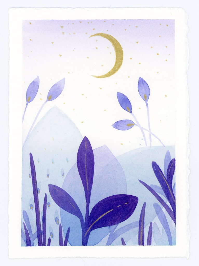Twilight Abstract botanic watercolor painting