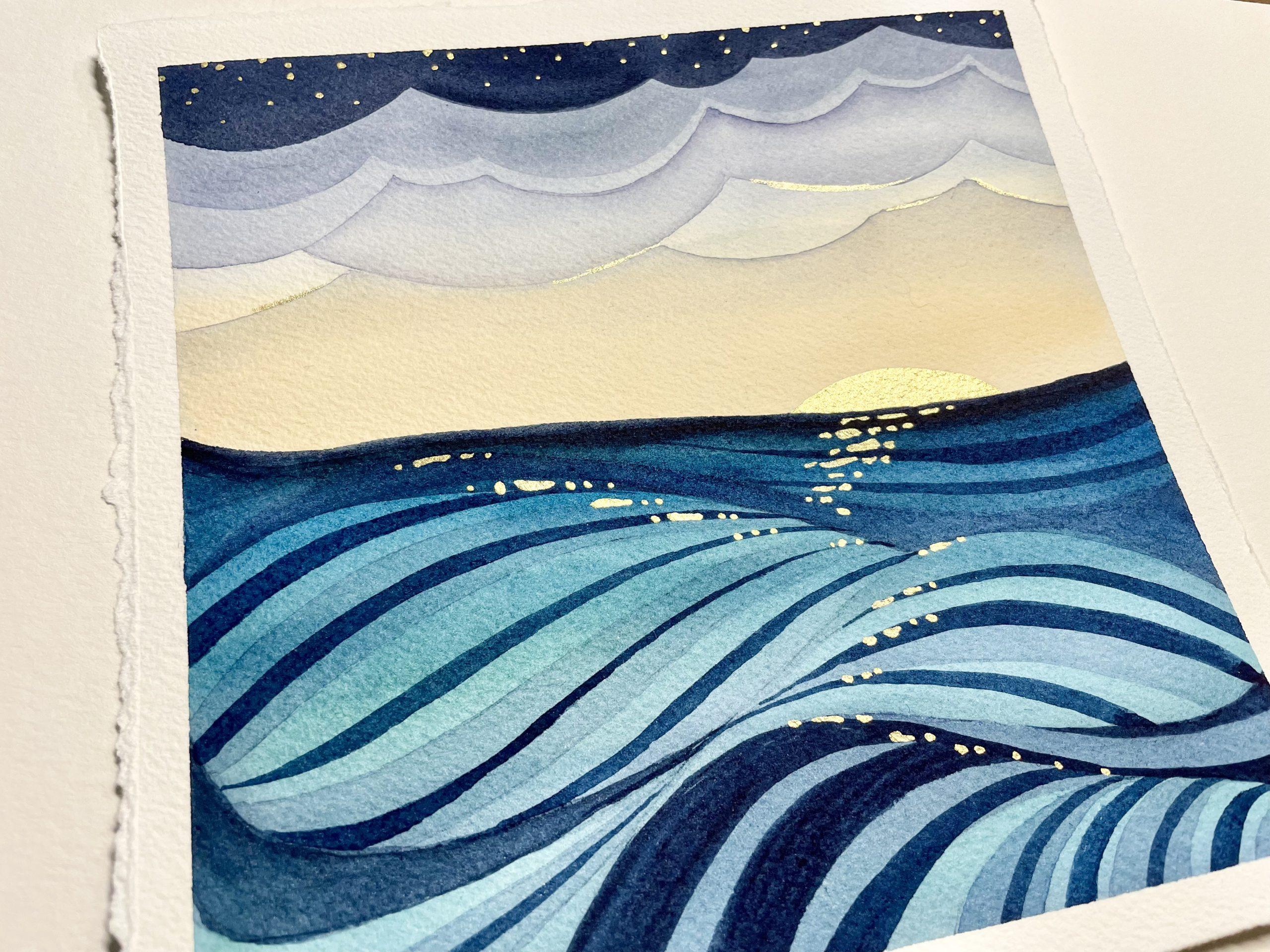 Ocean Sun Glint watercolor art