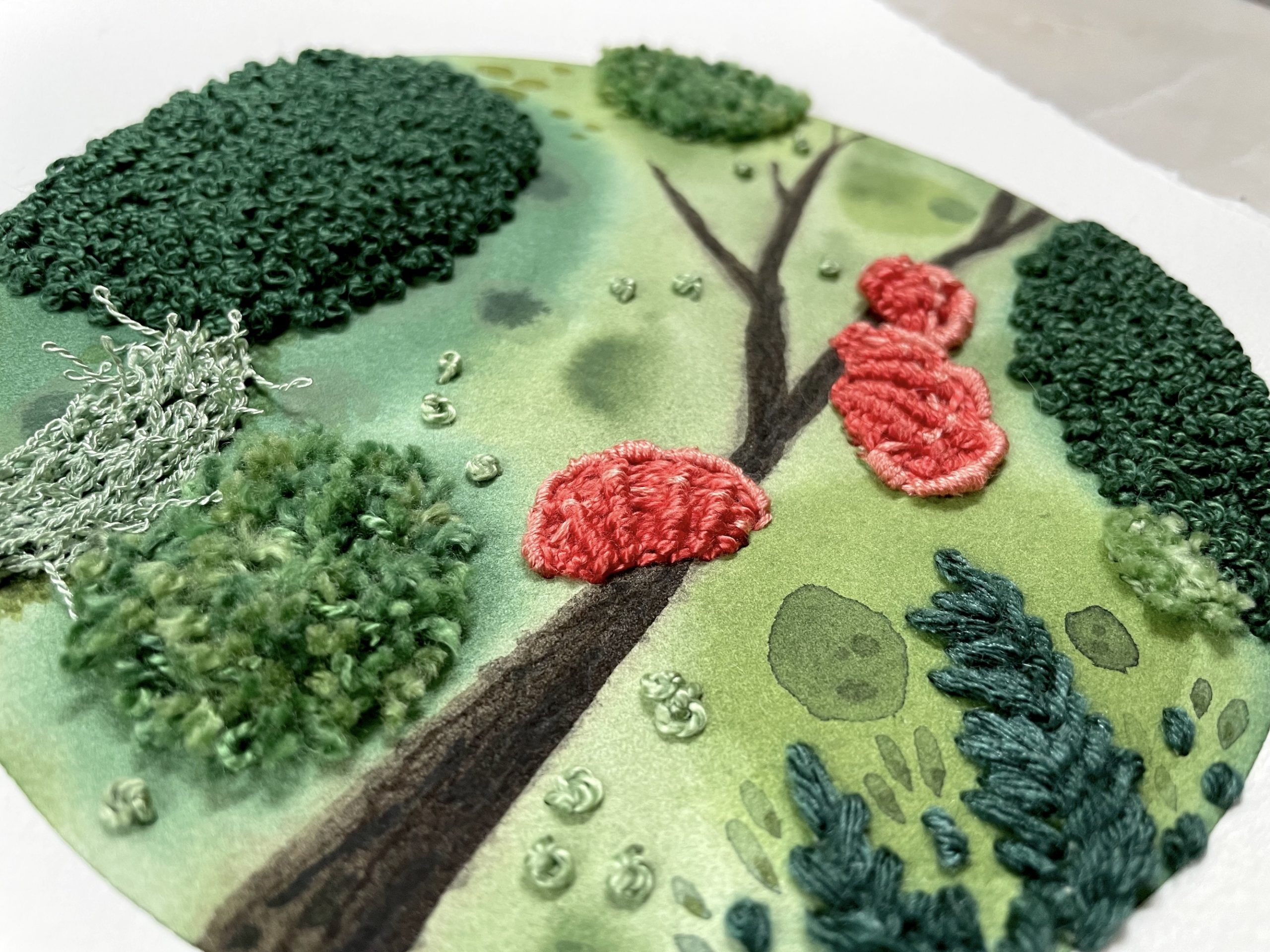 Moss & Lichen watercolor and embroidery art