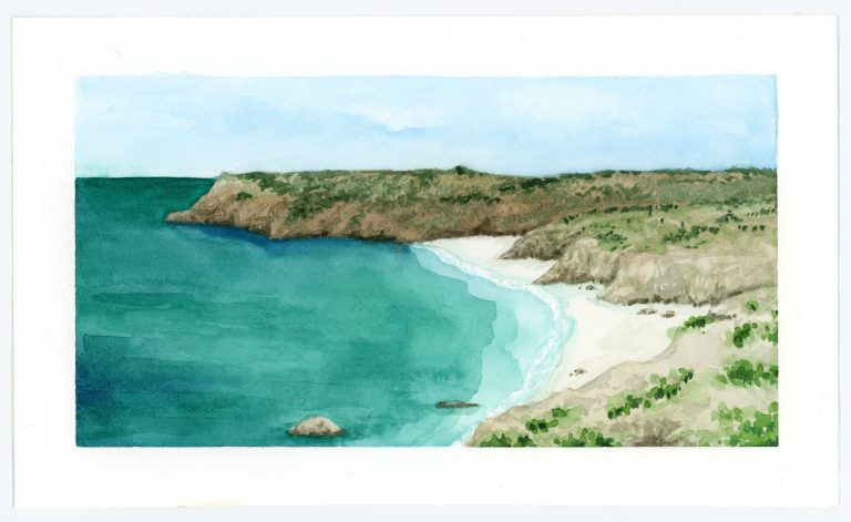 Rocky bluff landscape watercolor painting