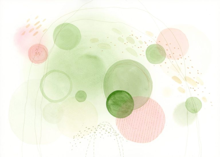 Matcha & Strawberry abstract watercolor painting