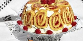 Tort cupola, roll-cake sau tort rulada cu sarlota de vanilie si fructe