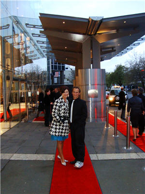 Glamming it up on the red carpet at the Christchurch convention centre