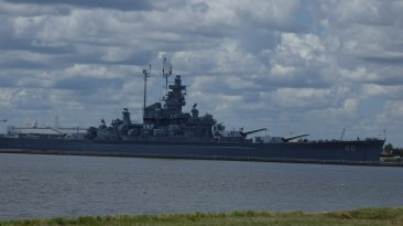 Unknown warship, docked in Mobile Bay