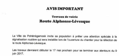Avis important – Travaux de voirie sur la Route Alphonse-Lévesque