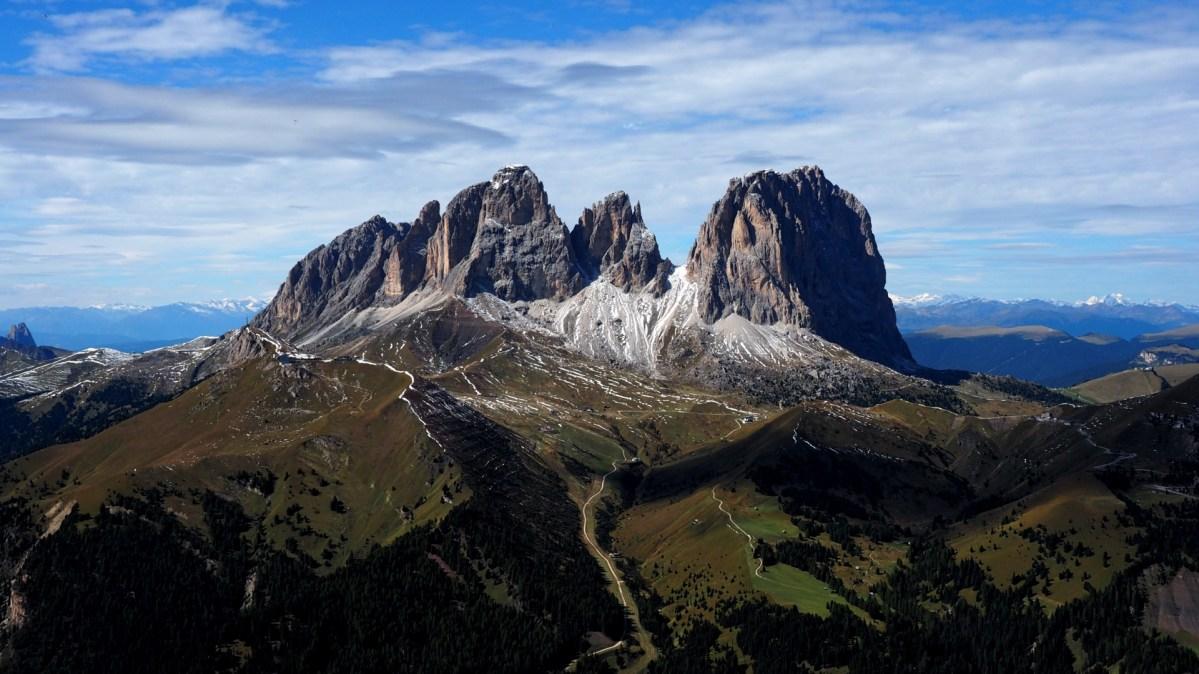 První tandem let na paraglidu v Dolomitech
