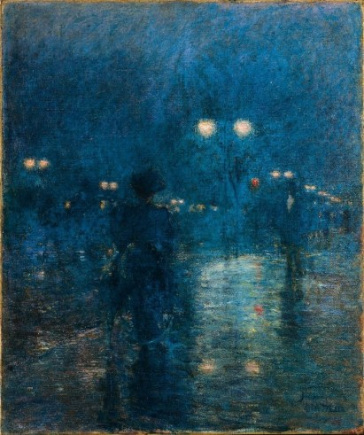 """Fifth Avenue Nocturne"" (c1895, oil on canvas) by Childe Hassam"