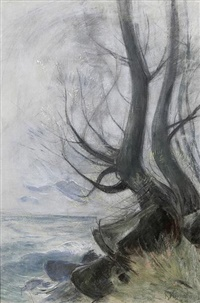 """Baum am Ostseeufer"" (nd, pastel on cardboard)"