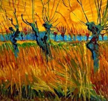 """""""Willows at Sunset"""" (1888, oil on canvas board)by Vincent van Gogh"""