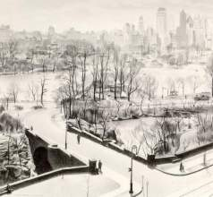 """View of Central Park"" (1932, conté crayon)by Charles Sheeler"