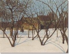 """Winter, Hillside, NJ (1920, oil on canvas)by George Ault"