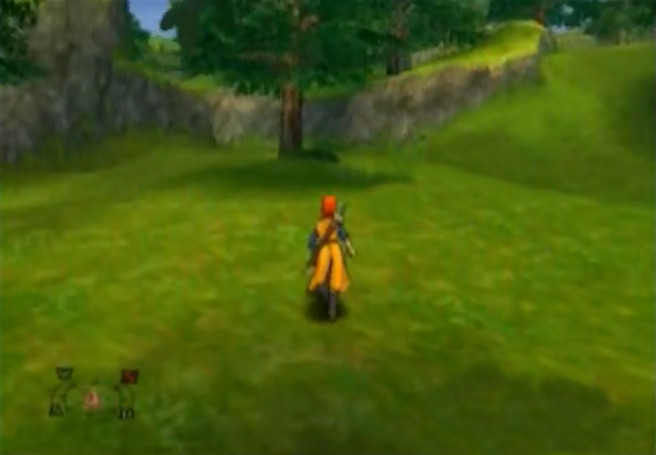 The Hero Walks in a Grassy Area in the Overworld Mode