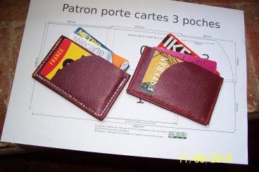 porte carte origami 3 poches en cuir patron libre et gratuit à télécharger