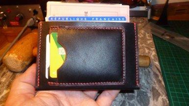 Porte cartes identité et CB en cuir - maroquinerie et travail du cuir, patron gratuit libre