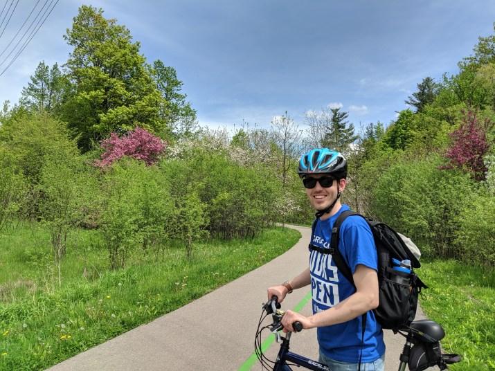 Stewart on his bicycle