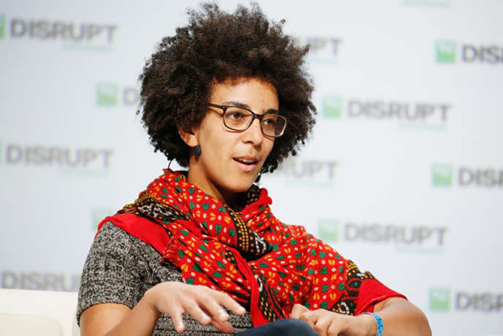 SAN FRANCISCO, CA - SEPTEMBER 07: Google AI Research Scientist Timnit Gebru speaks onstage during Day 3 of TechCrunch Disrupt SF 2018 at Moscone Center on September 7, 2018 in San Francisco, California.   Kimberly White/Getty Images for TechCrunch/AFP