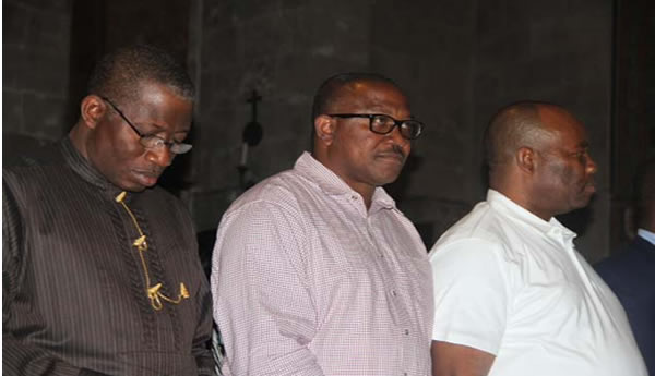 FROM LEFT: PRESIDENT GOODLUCK JONATHAN; GOV. PETER OBI OF ANAMBRA AND GOV. GODSWILL AKPABIO OF AKWA-IBOM PRAYING INSIDE THE CHURCH OF GETHSEMANE AT THE GARDEN OF GETHSEMANE.