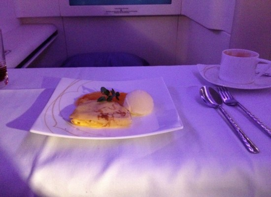 Thai Airways First Class A380 Dessert Crepes Suzette with Vanilla Ice Cream and Orange Sauce