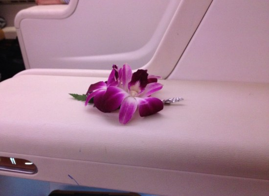 Flowers onboard Thai Airways A380 Royal First Class