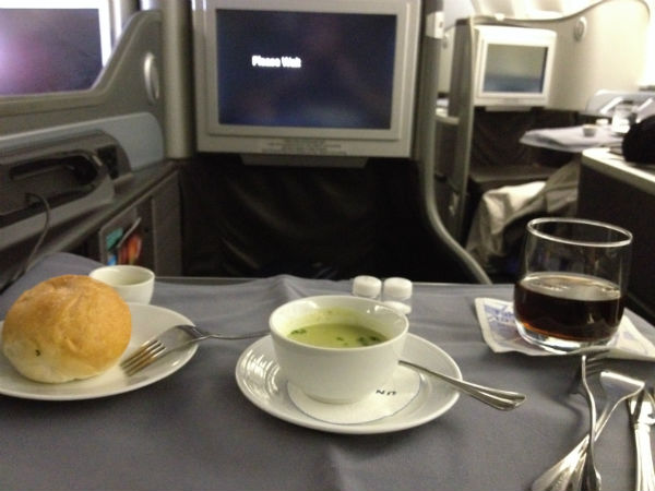 United Global First Class Meal Blue Cheese Soup SYD - SFO