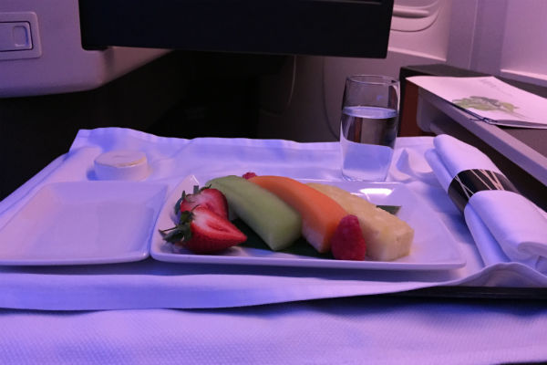 Fruit plate served during breakfast