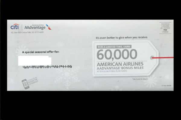 60,000 miles from the Citi Platinum AAdvantage Card