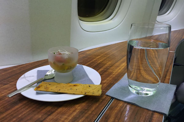 Cathay Pacific First Class pre-flight amuse-bouche: salmon tartare