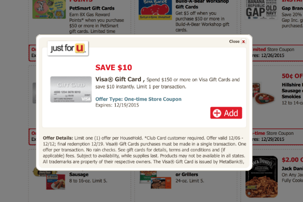 Safeway Just For U Deal: $10 off Visa Gift Card Purchase of $150+ ...