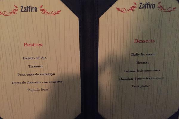 Dessert Menu at Zaffiro