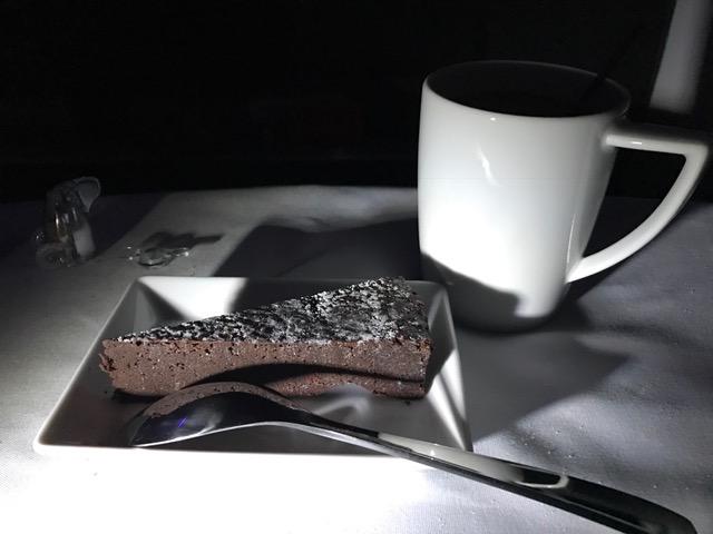 Virgin America First Class Flourless Chocolate Cake Dessert New York to San Francisco