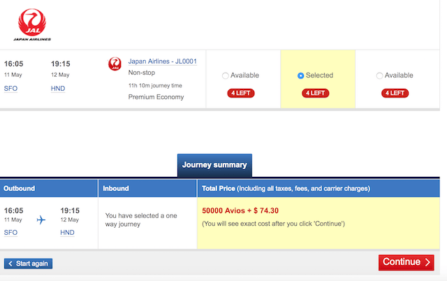 50,000 Avios for a JAL Business Class ticket from San Francisco to Tokyo