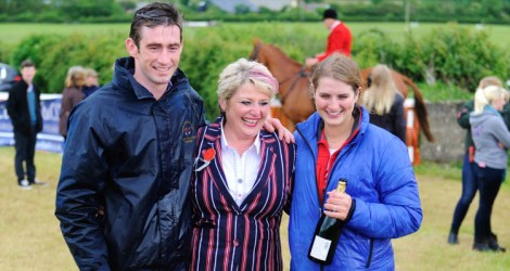 National Champions Will Biddick and Gina Andrews, with outgoing secretary Gillian Underhill following the conclusion to the 2014-15 season at the Torrington Farmers Point-To-Point, at Umberleigh.